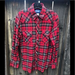 Men's WRANGLER Snap Down Flannel Shirt MED